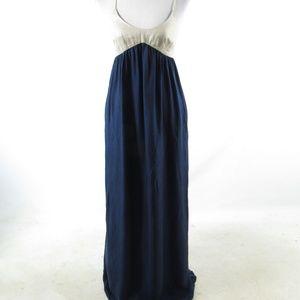 Navy blue beige L'AGENCE empire waist dress M